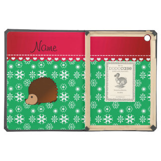 Personalized name hedgehog green snowflakes iPad air case