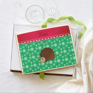 Personalized name hedgehog green snowflakes jumbo cookie