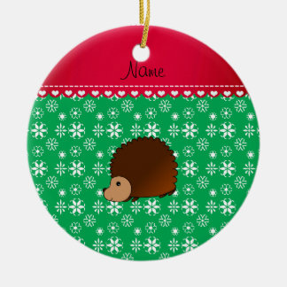 Personalized name hedgehog green snowflakes Double-Sided ceramic round christmas ornament