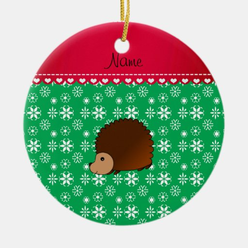 Personalized name hedgehog green snowflakes ornaments