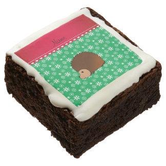 Personalized name hedgehog green snowflakes brownie