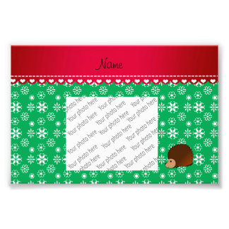 Personalized name hedgehog green snowflakes art photo