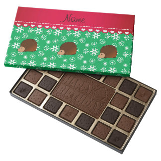 Personalized name hedgehog green snowflakes 45 piece assorted chocolate box