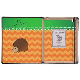 Personalized name hedgehog orange chevrons iPad folio case