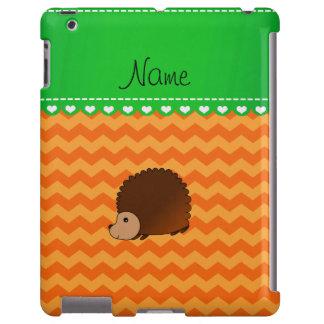 Personalized name hedgehog orange chevrons