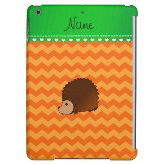 Personalized name hedgehog orange chevrons iPad air cover