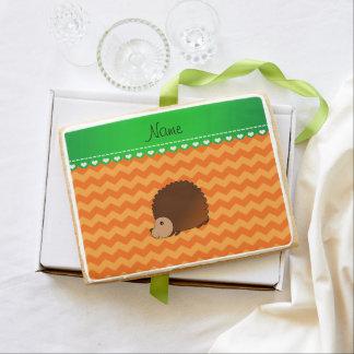 Personalized name hedgehog orange chevrons jumbo cookie