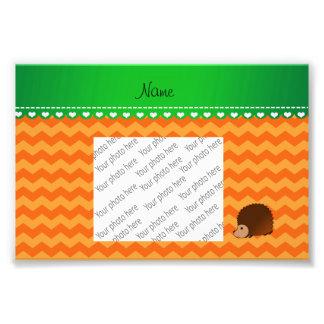 Personalized name hedgehog orange chevrons art photo