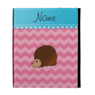Personalized name hedgehog pink chevrons iPad folio covers