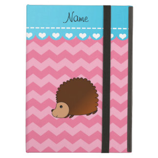Personalized name hedgehog pink chevrons case for iPad air