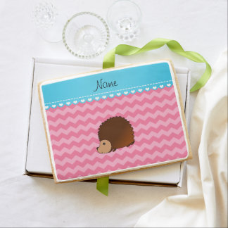 Personalized name hedgehog pink chevrons jumbo cookie
