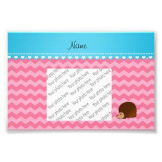 Personalized name hedgehog pink chevrons photo print
