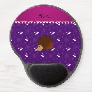 Personalized name hedgehog purple santa hats trees gel mouse pad
