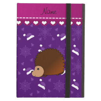 Personalized name hedgehog purple santa hats trees case for iPad air