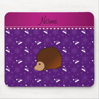 Personalized name hedgehog purple santa hats trees mouse pad