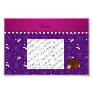 Personalized name hedgehog purple santa hats trees photo art