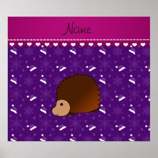 Personalized name hedgehog purple santa hats trees poster