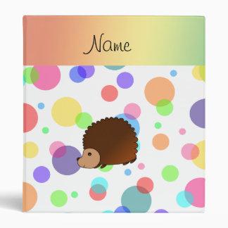 Personalized name hedgehog rainbow polkadots binder