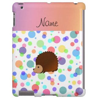Personalized name hedgehog rainbow polkadots