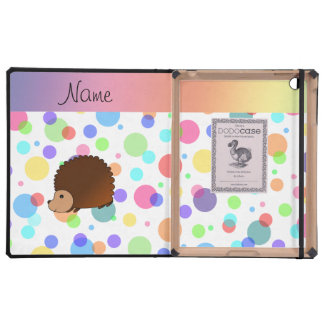 Personalized name hedgehog rainbow polkadots cover for iPad
