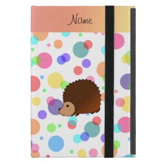 Personalized name hedgehog rainbow polkadots iPad mini covers