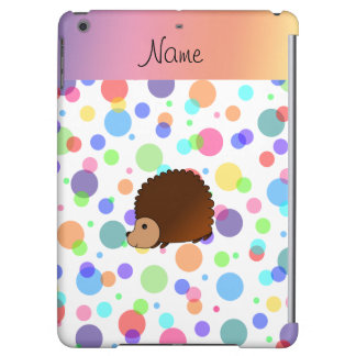 Personalized name hedgehog rainbow polkadots cover for iPad air