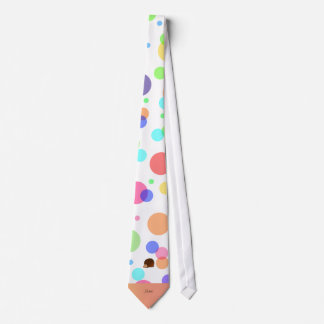 Personalized name hedgehog rainbow polkadots neck tie