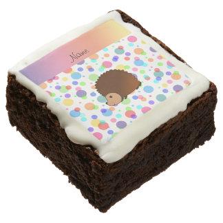 Personalized name hedgehog rainbow polkadots square brownie
