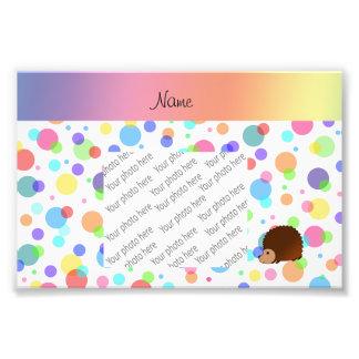 Personalized name hedgehog rainbow polkadots photo print