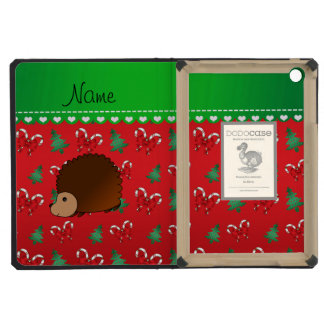 Personalized name hedgehog red candy canes bows iPad mini case