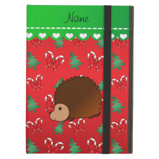 Personalized name hedgehog red candy canes bows iPad air covers