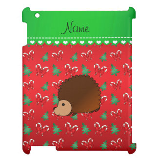 Personalized name hedgehog red candy canes bows iPad cover