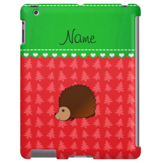 Personalized name hedgehog red Christmas trees