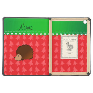 Personalized name hedgehog red Christmas trees iPad Air Covers