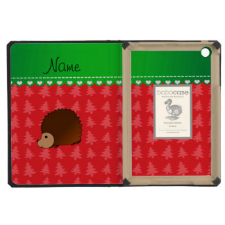 Personalized name hedgehog red Christmas trees iPad Mini Cases