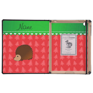 Personalized name hedgehog red Christmas trees Cover For iPad