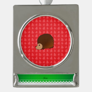Personalized name hedgehog red Christmas trees Silver Plated Banner Ornament