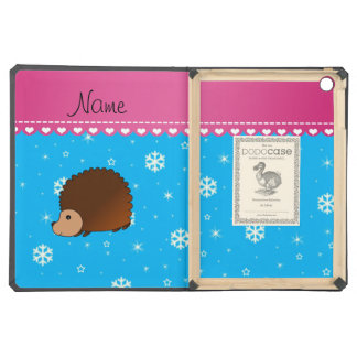 Personalized name hedgehog sky blue snowflakes case for iPad air