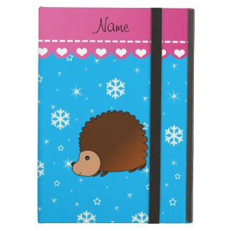 Personalized name hedgehog sky blue snowflakes iPad air cover
