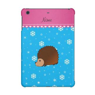 Personalized name hedgehog sky blue snowflakes iPad mini retina case