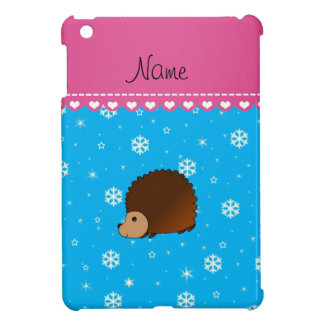 Personalized name hedgehog sky blue snowflakes case for the iPad mini