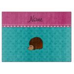 Personalized name hedgehog turquoise hearts cutting board