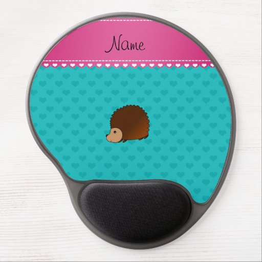 Personalized name hedgehog turquoise hearts gel mousepad