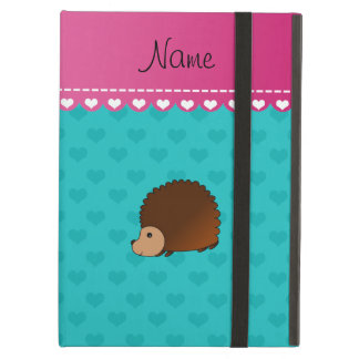 Personalized name hedgehog turquoise hearts iPad air case