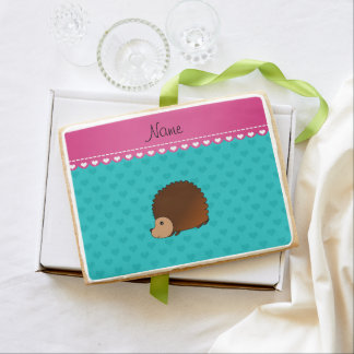 Personalized name hedgehog turquoise hearts jumbo cookie
