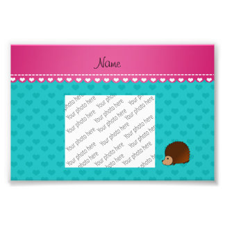 Personalized name hedgehog turquoise hearts art photo