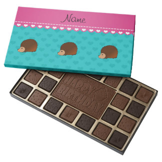 Personalized name hedgehog turquoise hearts 45 piece box of chocolates