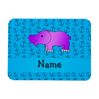 Personalized name hippo blue anchors pattern flexible magnets