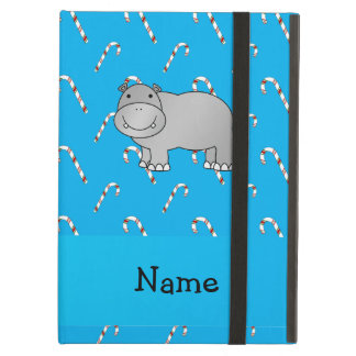 Personalized name hippo blue candy canes case for iPad air