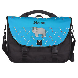 Personalized name hippo blue candy canes computer bag